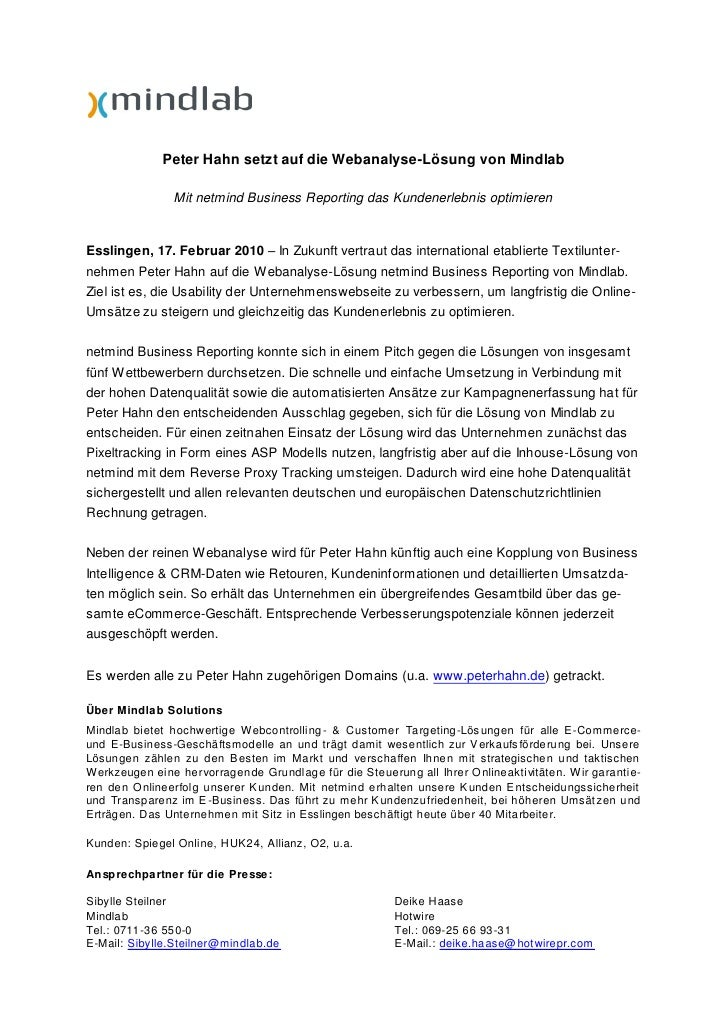 Peter Hahn setzt auf die Webanalyse-Lösung von Mindlab                 Mit netmind Business Reporting das Kundenerlebnis o...