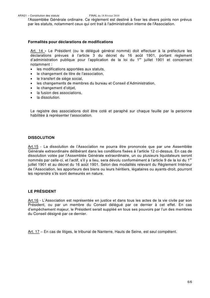 Statuts ARA21