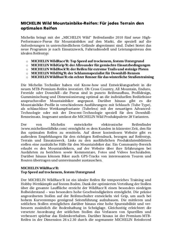"""MICHELIN Wild Mountainbike-Reifen: Für jedes Terrain denoptimalen ReifenMichelin bringt mit der """"MICHELIN Wild"""" Reifenfami..."""
