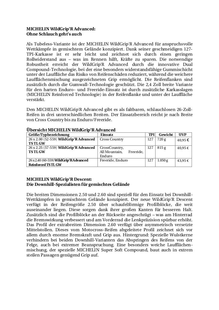 MICHELIN WildGrip'R Advanced:Ohne Schlauch geht's auchAls Tubeless-Variante ist der MICHELIN WildGrip'R Advanced für anspr...