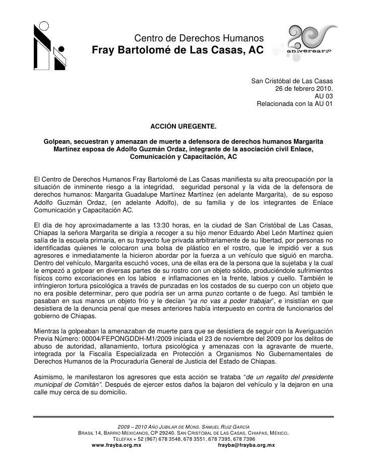 Centro de Derechos Humanos                     Fray Bartolomé de Las Casas, AC                                            ...