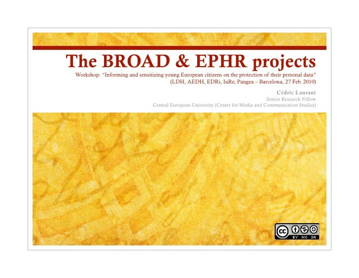 """The BROAD & EPHR projects Workshop: """"Informing and sensitizing young European citizens on the protection of their personal..."""