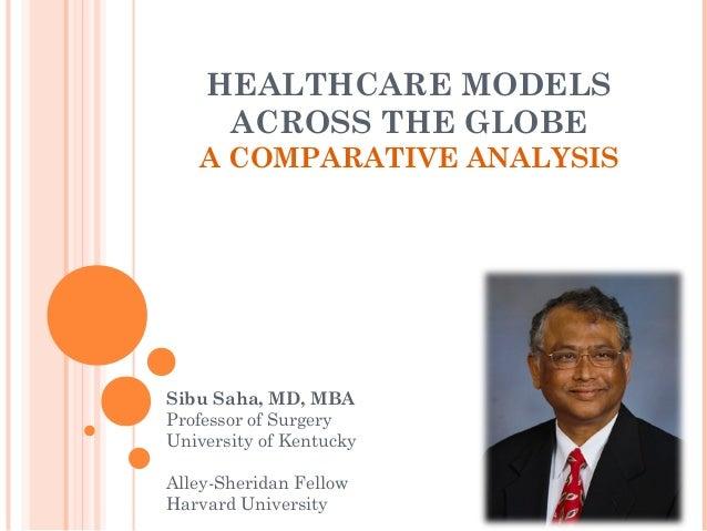 HEALTHCARE MODELS ACROSS THE GLOBE A COMPARATIVE ANALYSIS Sibu Saha, MD, MBA Professor of Surgery University of Kentucky A...