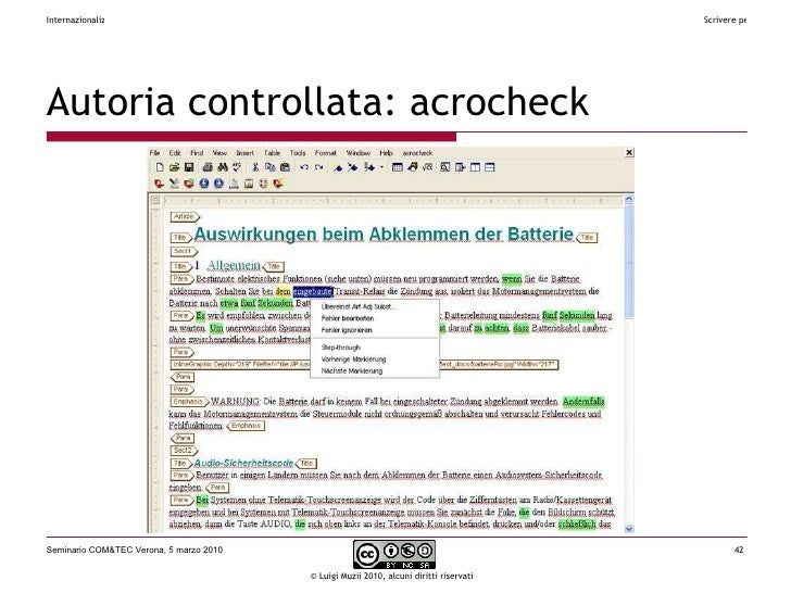 Autoria  controllata:  acrocheck