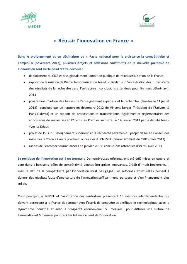 «Réussirl'innovationenFrance»Dans le prolonge...