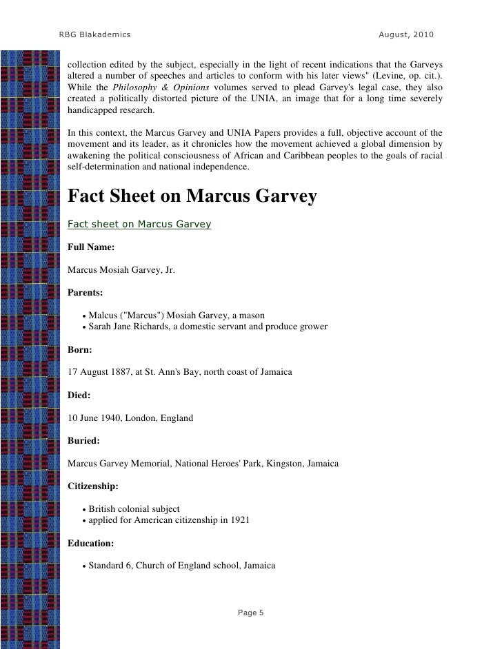 marcus garvey research papers The marcus garvey and unia papers project a research project of the james s coleman african studies center sponsored by national endowment for the humanities.