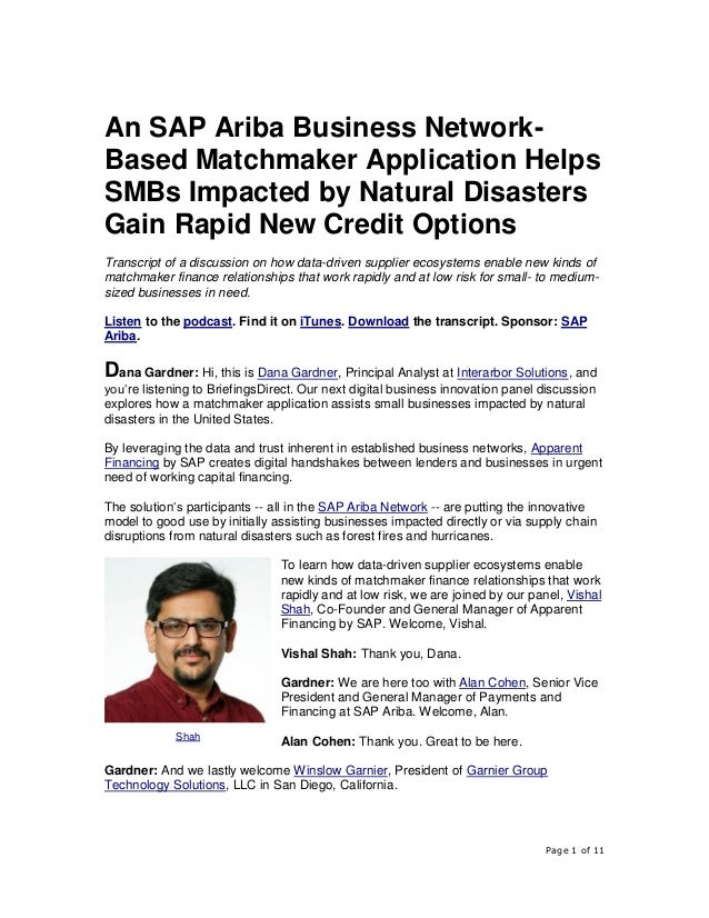 Page 1 of 11 An SAP Ariba Business Network- Based Matchmaker Application Helps SMBs Impacted by Natural Disasters Gain Rap...