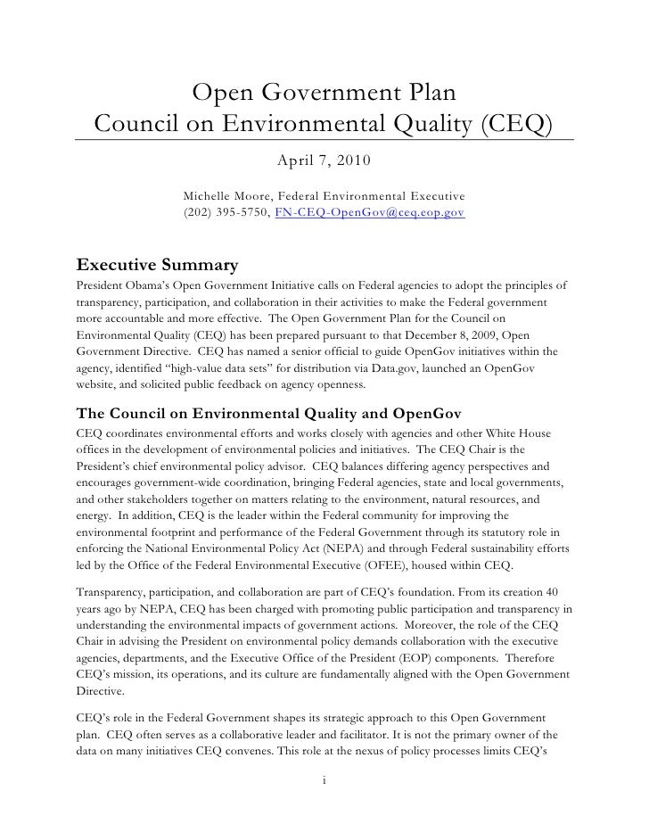Open Government Plan    Council on Environmental Quality (CEQ)                                          April 7, 2010     ...