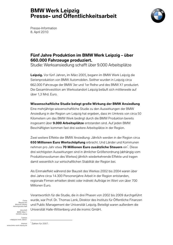 BMW Werk Leipzig                            Presse- und Öffentlichkeitsarbeit                            Presse-Informatio...