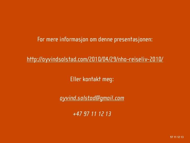 Forbrukeradferd på det nye nettet - NHO Reiseliv 2010