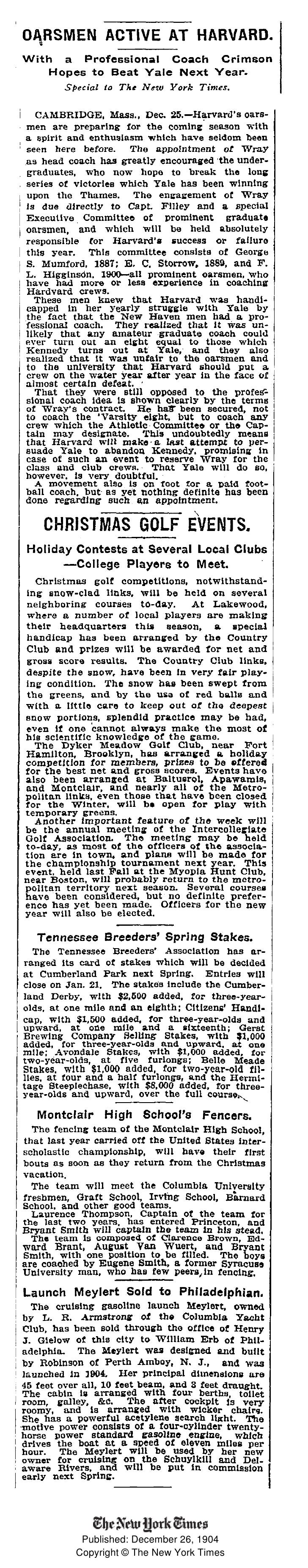Published: December 26, 1904 Copyright © The New York Times