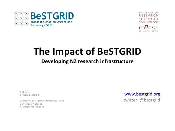 The Impact of BeSTGRID Developing NZ research infrastructure www.bestgrid.org twitter: @bestgrid Nick Jones Director, BeST...