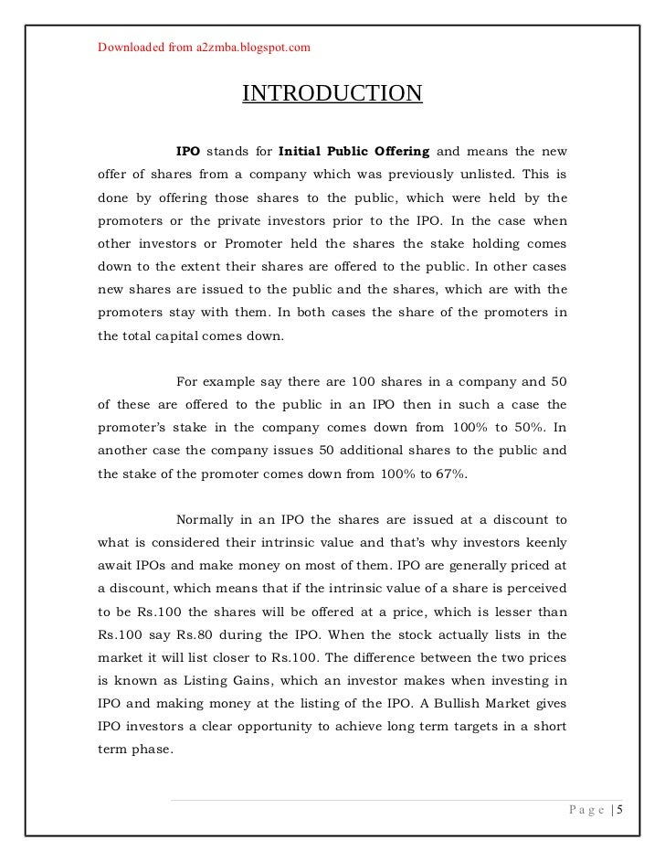 initial public offerings paper 2 essay An initial public offering of stock can be viewed as the definitive sign of a company opentable and solarwinds go public and see their initial public offerings soar.