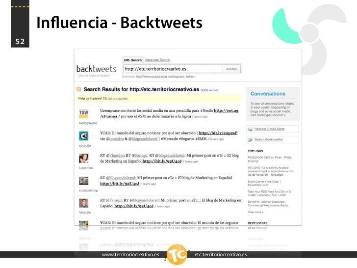 Influencia - Backtweets 52                  www.territoriocreativo.es   etc.territoriocreativo.es
