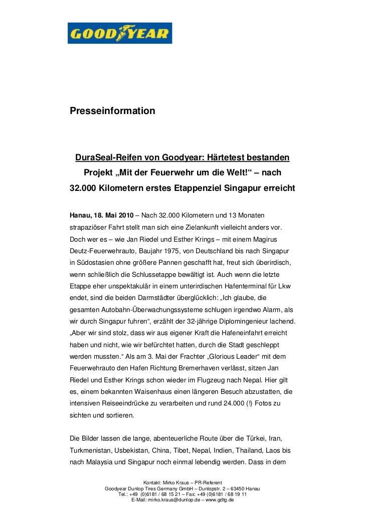 """Presseinformation  DuraSeal-Reifen von Goodyear: Härtetest bestanden    Projekt """"Mit der Feuerwehr um die Welt!"""" – nach32...."""