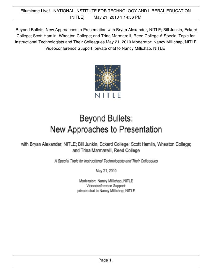 Elluminate Live! - NATIONAL INSTITUTE FOR TECHNOLOGY AND LIBERAL EDUCATION                            (NITLE)    May 21, 2...