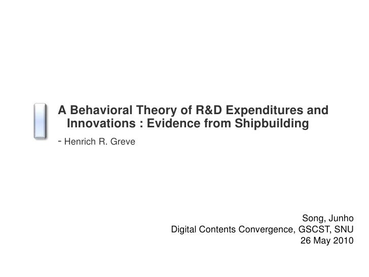 A Behavioral Theory of R&D Expenditures and Innovations : Evidence from Shipbuilding<br />-Henrich R. Greve<br />Song, Jun...