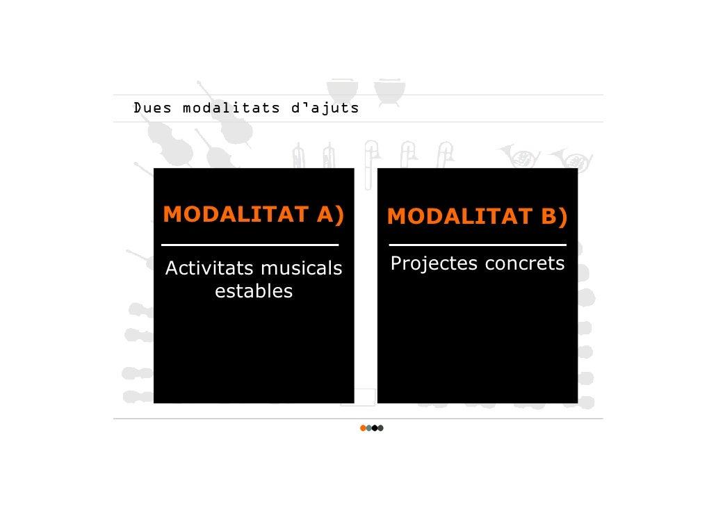 Dues modalitats d'ajuts        MODALITAT A)           MODALITAT B)     Activitats musicals    Projectes concrets         e...