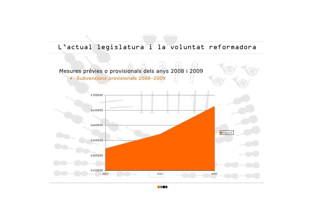 L'actual legislatura i la voluntat reformadora   Mesures prèvies o provisionals dels anys 2008 i 2009    • Subvencions pro...