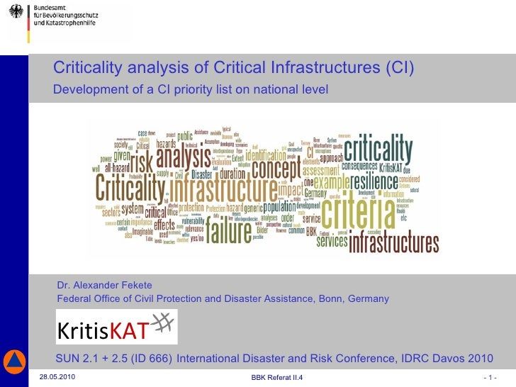 Dr. Alexander Fekete   Federal Office of Civil Protection and Disaster Assistance, Bonn, Germany Criticality analysis of C...