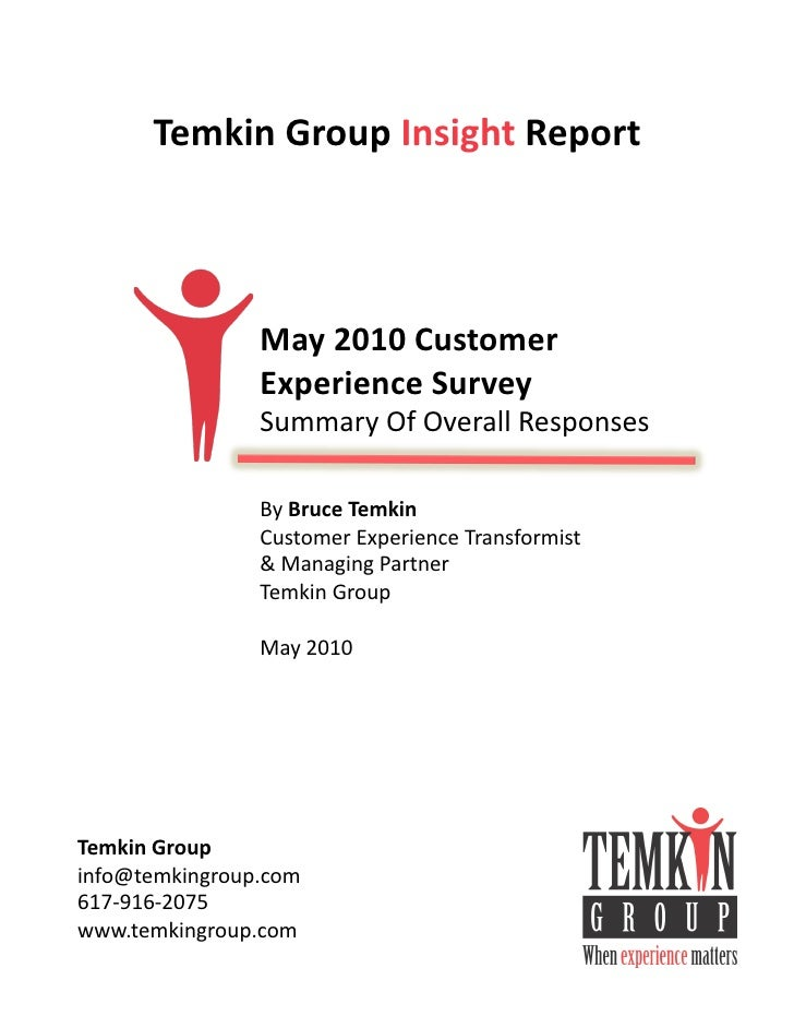 Temkin  Group  Insight  Report                         May  2010  Customer                      Experience ...