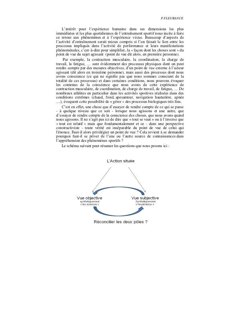 P.FLEURANCE    L'intérêt pour l'expérience humaine dans ses dimensions les plusimmédiates et les plus quotidiennes de l'en...