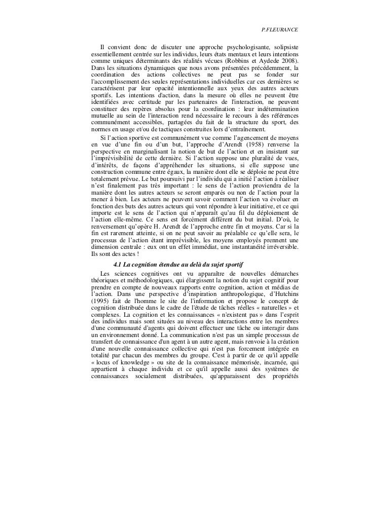 P.FLEURANCE    Il convient donc de discuter une approche psychologisante, solipsisteessentiellement centrée sur les indivi...