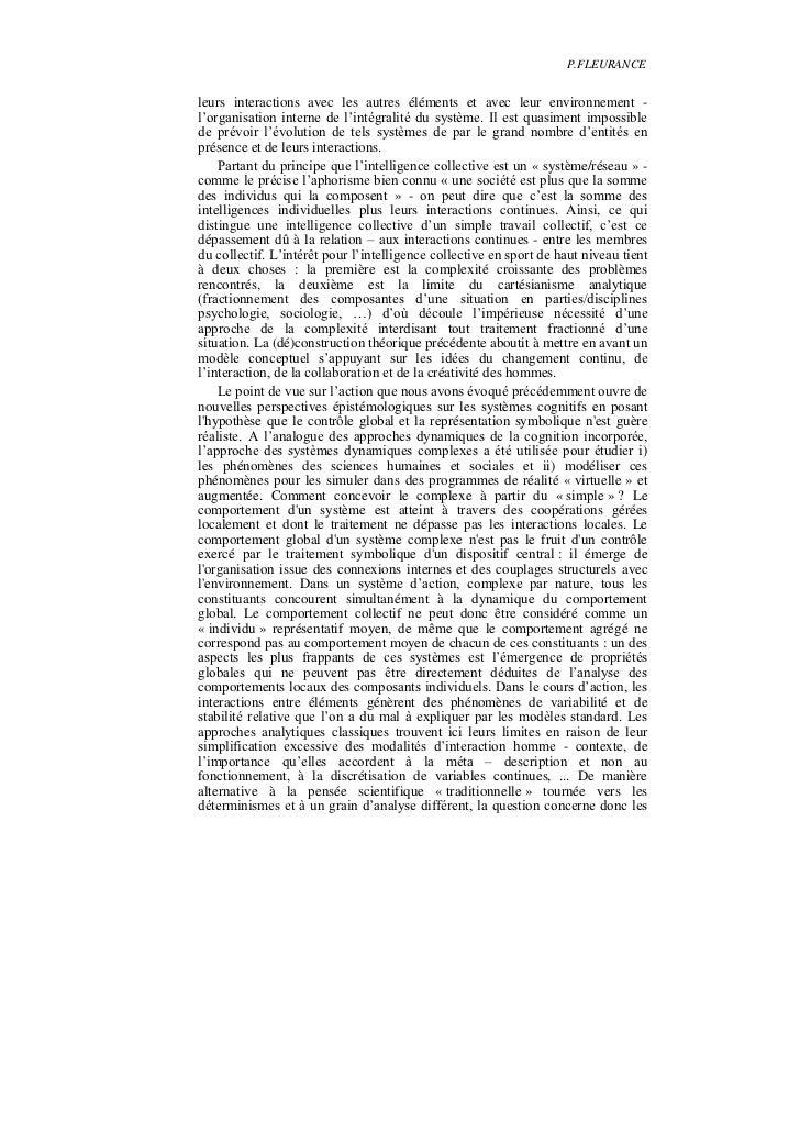 P.FLEURANCEleurs interactions avec les autres éléments et avec leur environnement -l'organisation interne de l'intégralité...