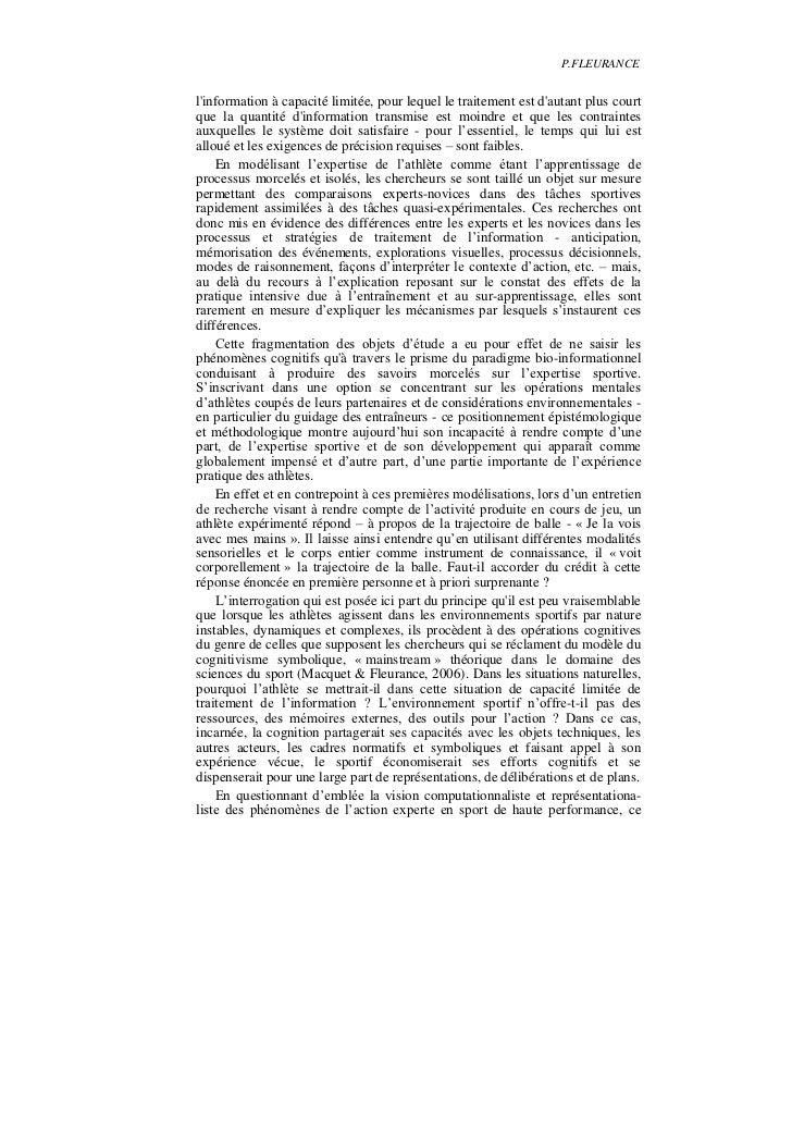 P.FLEURANCElinformation à capacité limitée, pour lequel le traitement est dautant plus courtque la quantité dinformation t...
