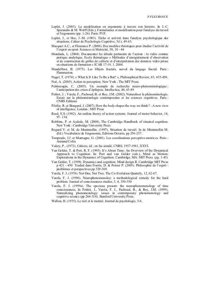 P.FLEURANCELeplat, J. (2003). La modélisation en ergonomie à travers son histoire. In J.-C.    Sperandio & M. Wolff (Eds.)...
