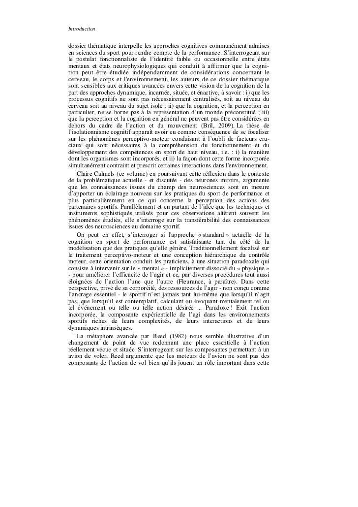 Introductiondossier thématique interpelle les approches cognitives communément admisesen sciences du sport pour rendre com...