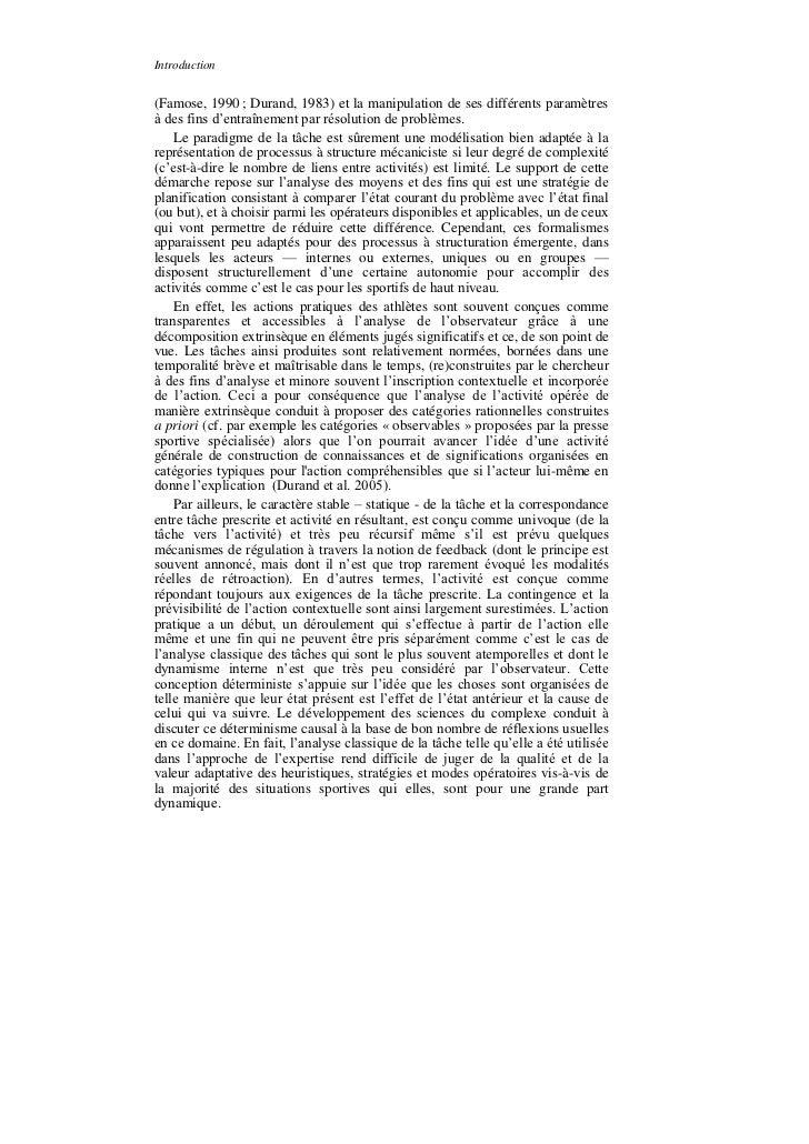 Introduction(Famose, 1990 ; Durand, 1983) et la manipulation de ses différents paramètresà des fins d'entraînement par rés...