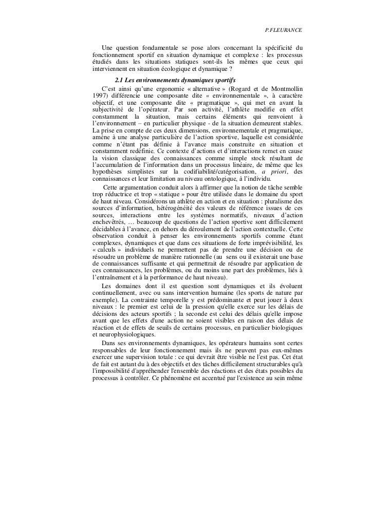 P.FLEURANCE    Une question fondamentale se pose alors concernant la spécificité dufonctionnement sportif en situation dyn...