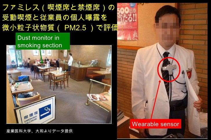 ファミレス(喫煙席と禁煙席)の 受動喫煙と従業員の個人曝露を 微小粒子状物質( PM2.5 )で評価: Wearable sensor Dust monitor in smoking section 産業医科大学、大和よりデータ提供
