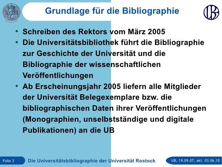 Die Universitätsbibliographie der Universität Rostock Slide 3