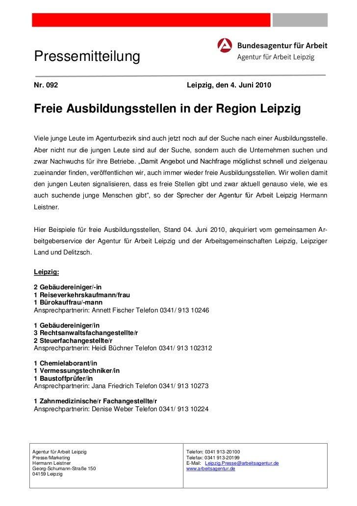 PressemitteilungNr. 092                                             Leipzig, den 4. Juni 2010Freie Ausbildungsstellen in d...