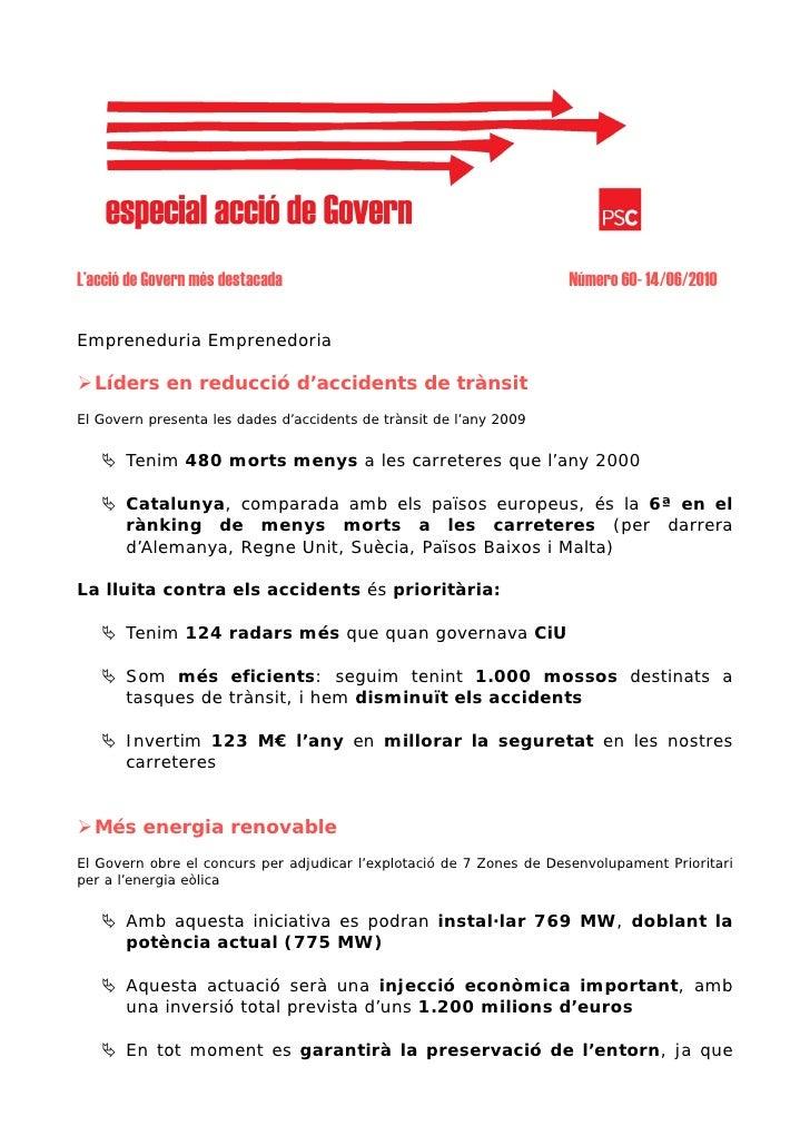 L'acció de Govern més destacada                                      Número 60- 14/06/2010  Empreneduria Emprenedoria    L...