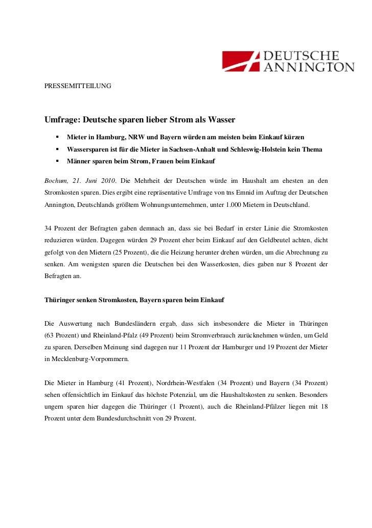 PRESSEMITTEILUNGUmfrage: Deutsche sparen lieber Strom als Wasser       Mieter in Hamburg, NRW und Bayern würden am meisten...