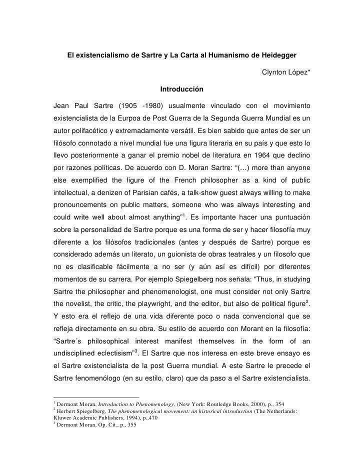 El existencialismo de Sartre y La Carta al Humanismo de Heidegger                                                         ...