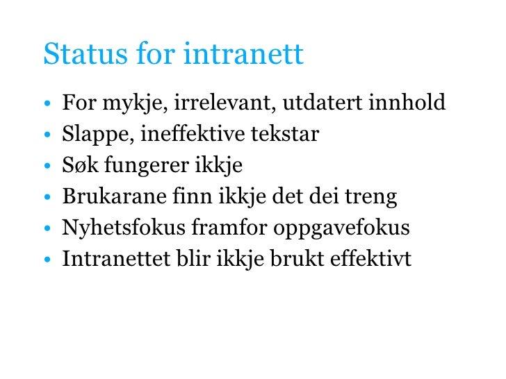 Innhaldsstrategi for intranett Slide 3
