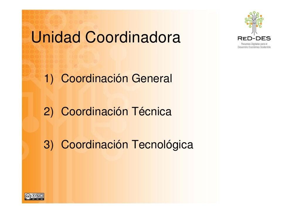Unidad Coordinadora U id d C di d   1) Coordinación General   2) Coordinación Técnica   3) Coordinación Tecnológica