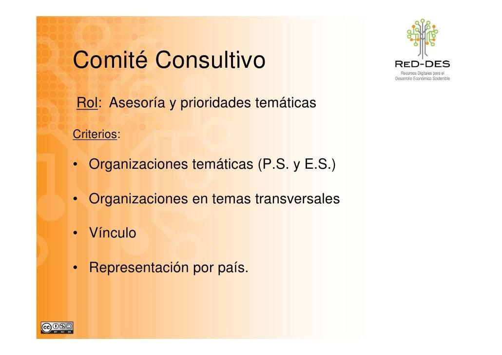 Comité Consultivo Rol: Asesoría y prioridades temáticas  Criterios:  • Organizaciones temáticas (P.S. y E.S.)  • Organizac...