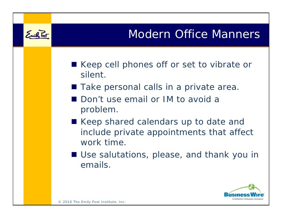cell phone etiquette at work Etiquette for the Digital Age