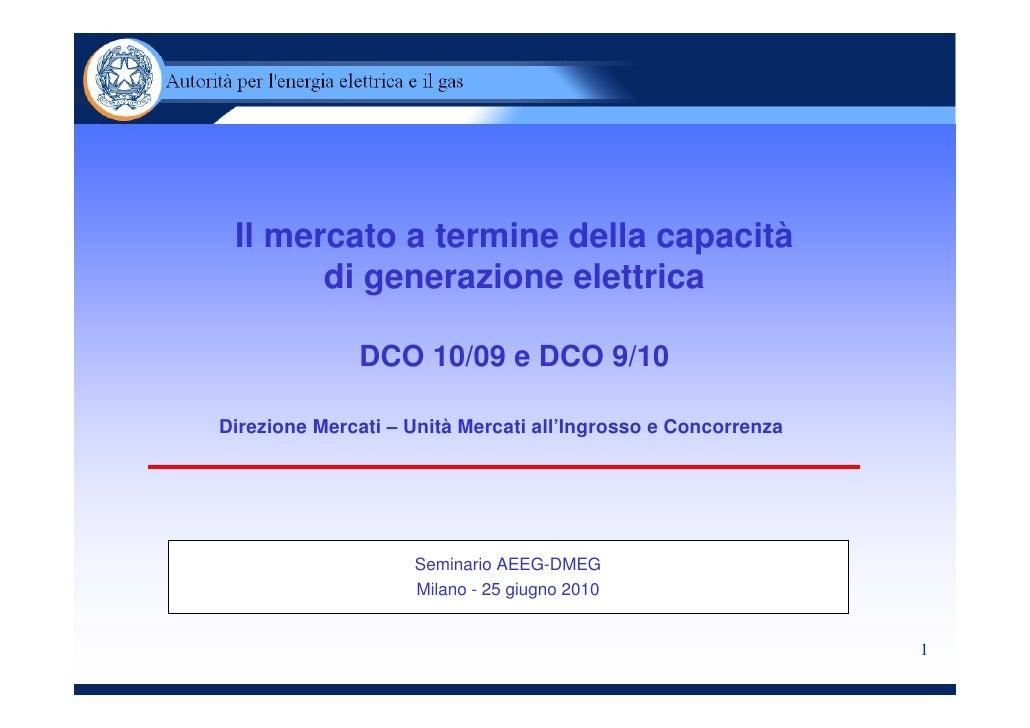 Il mercato a termine della capacità        di generazione elettrica                DCO 10/09 e DCO 9/10  Direzione Mercati...