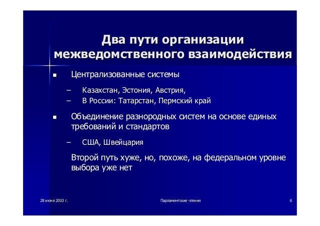 28 июня 2010 г.Парламентские чтения 6 Два пути организацииДва пути организации межведомственногомежведомственного взаимоде...