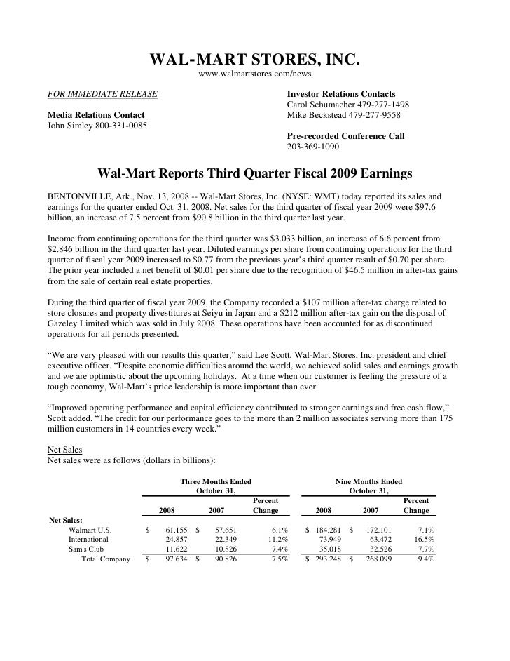 WAL-MART STORES, INC.                                            www.walmartstores.com/news  FOR IMMEDIATE RELEASE        ...