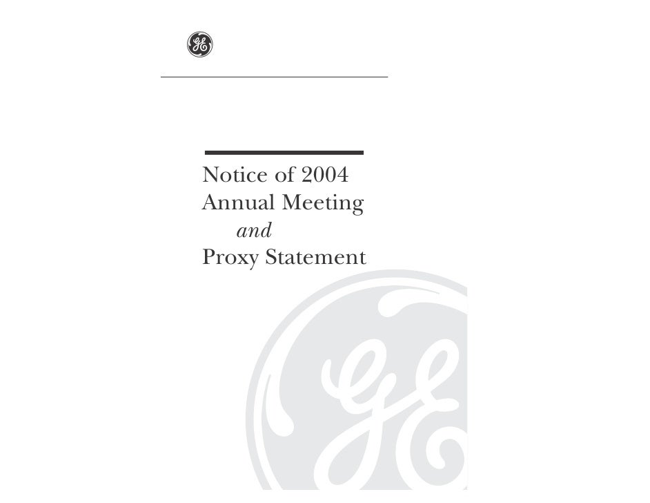 g   Notice of 2004 Annual Meeting    and Proxy Statement