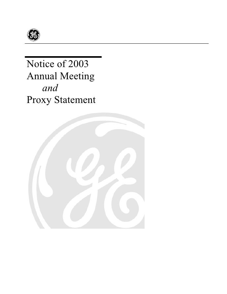 Notice of 2003 Annual Meeting    and Proxy Statement