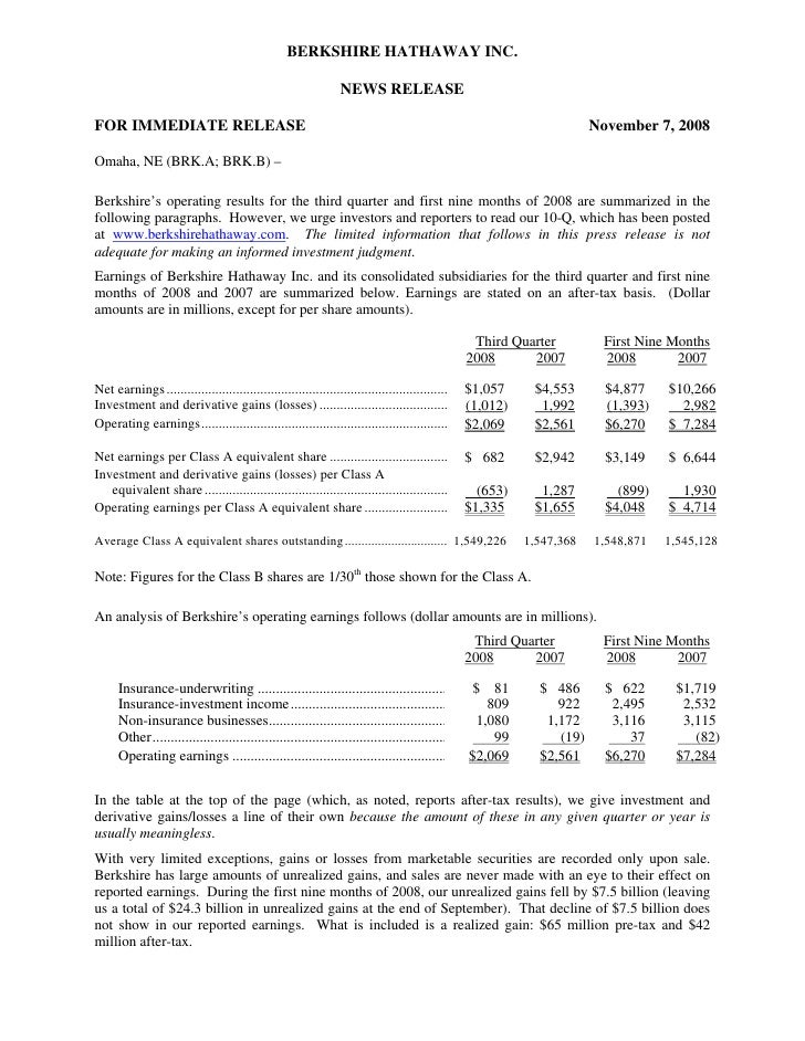 BERKSHIRE HATHAWAY INC.                                                                   NEWS RELEASE  FOR IMMEDIATE RELE...