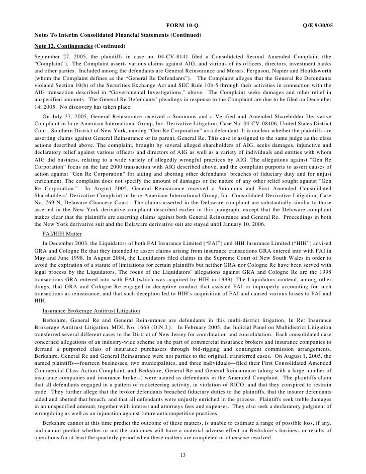 FORM 10-Q                                                 Q/E 9/30/05 Notes To Interim Consolidated Financial Statements (...